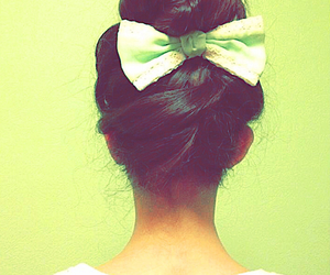 bow, braid, and brown hair image