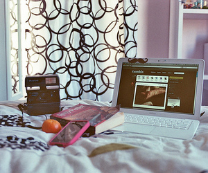 bed, polaroid, and computer image