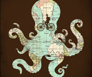 octopus, map, and world image