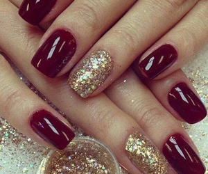 glitter, nails, and golden image