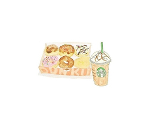 starbucks, donuts, and transparents image