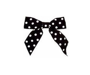 black, bow, and dots image