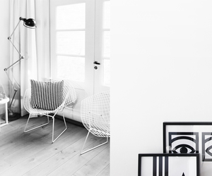 b&w, chair, and interior image
