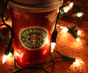 starbucks, christmas, and light image