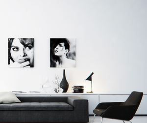 black and white, interiors, and livingroom image