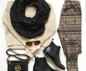fashion, boots, and sweater image