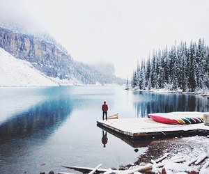 snow, lake, and forest image