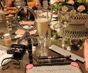 champagne, makeup, and food image