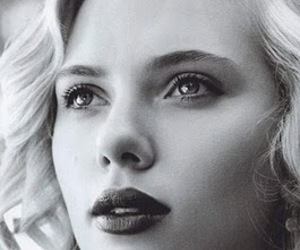 Scarlett Johansson, actress, and black and white image
