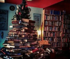 books, christmas, and tree image