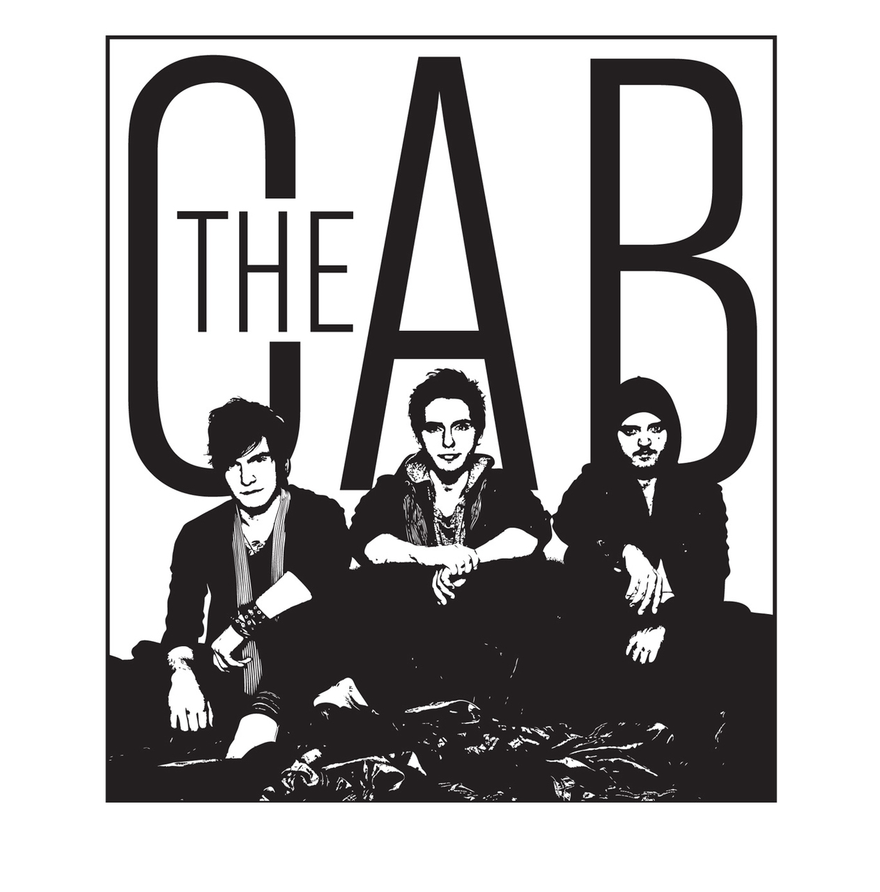 band, black and white, and the cab image