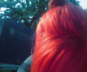 bun, red, and colored hair image
