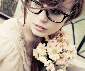 girl, flowers, and glasses image
