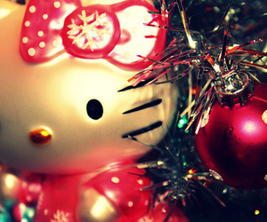 christmas, hello kitty, and can't wait image
