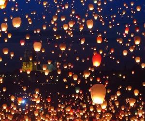 beautiful, lanterns, and light image