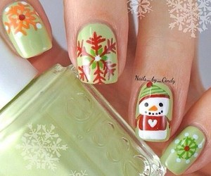 nails, christmas, and snowman image