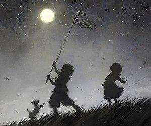 moon, night, and child image
