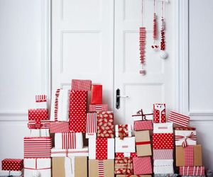 gift, christmas, and red image
