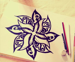 drawing, flowers, and blanck&white image