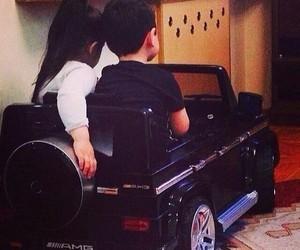 car, kids, and love image