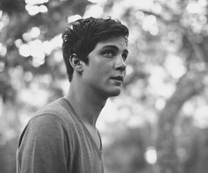 logan lerman, boy, and black and white image