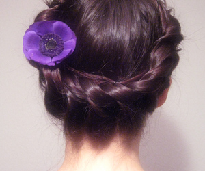 braid, hairstyle, and purple image
