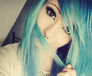 hair, blue, and scene image