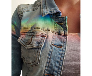rainbow, jacket, and jeans image