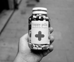 black and white, happy pills, and pills image