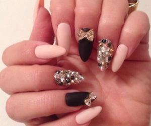 nails, black, and pink image