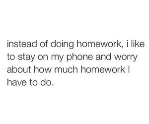 homework, phone, and school image