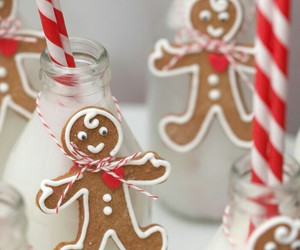 milk, christmas, and gingerbread image