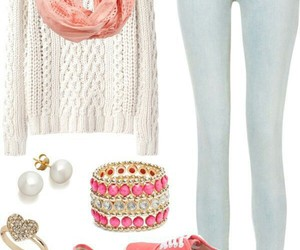outfit, jeans, and pink image