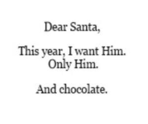 him, santa, and chocolate image