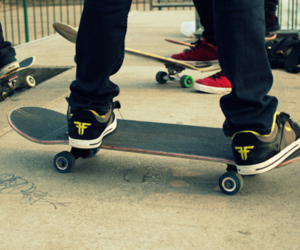 boys, shoes, and skateboard image