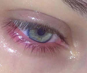 eye, pink, and pale image
