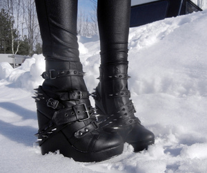 shoes, black, and snow image