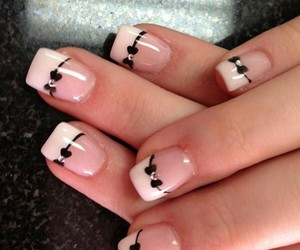 nails, nail art, and bow image