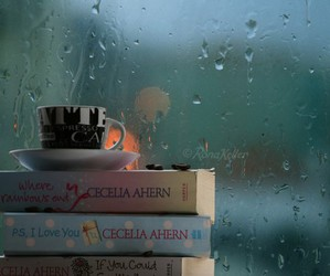 books, coffe, and p.s. i love you image