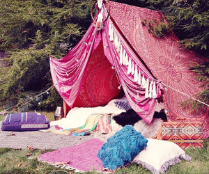 love, camping, and pillows image