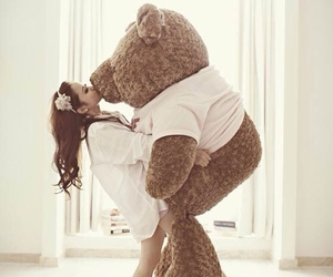 girl, bear, and love image