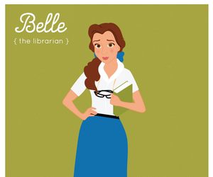 beauty and the beast, belle, and librarian image