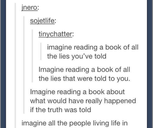 book, imagine, and lies image
