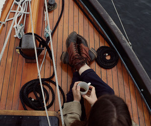 boat, coffee, and sea image