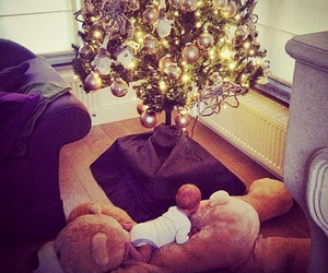 baby, christmas, and christmas tree image