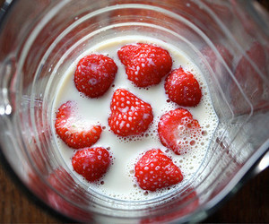 strawberry, milk, and food image
