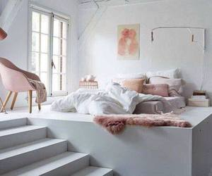 bed, big windows, and home image