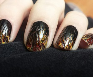 art, black, and flames image