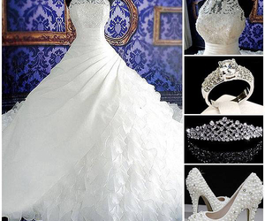 beautiful, wedding accessories, and wedding gown image
