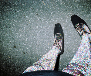 shoes, tights, and glitter image